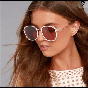 Lulu's Disco Queen White and Pink Sunglasses